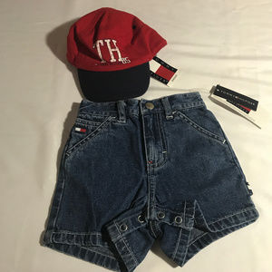 Tommy Hilfiger denim shorts and hat 6-12 mos NWT